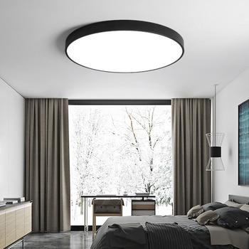 [DBF] nowoczesny akryl ze stopu okrągły 5cm Super cienkie doprowadziły sufitu światła czarny/biały 23/30 /40/50/60cm LED sufitowe lampa dla przedpokój sypialnia