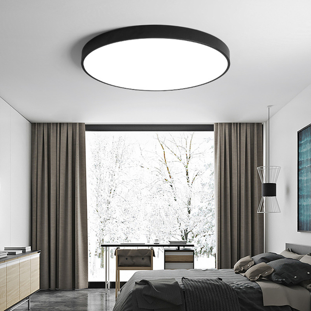[DBF]Modern Acryl Alloy Round 5cm Super Thin LED Ceiling Light Black/White 23/30/40/50/60cm LED Ceiling Lamp For Foyer Bedroom
