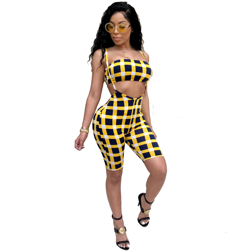 Sexy Two pieces women sets 2018 summer tube top and short pants sets 2 pics tracksuits yellow plaid matching sets