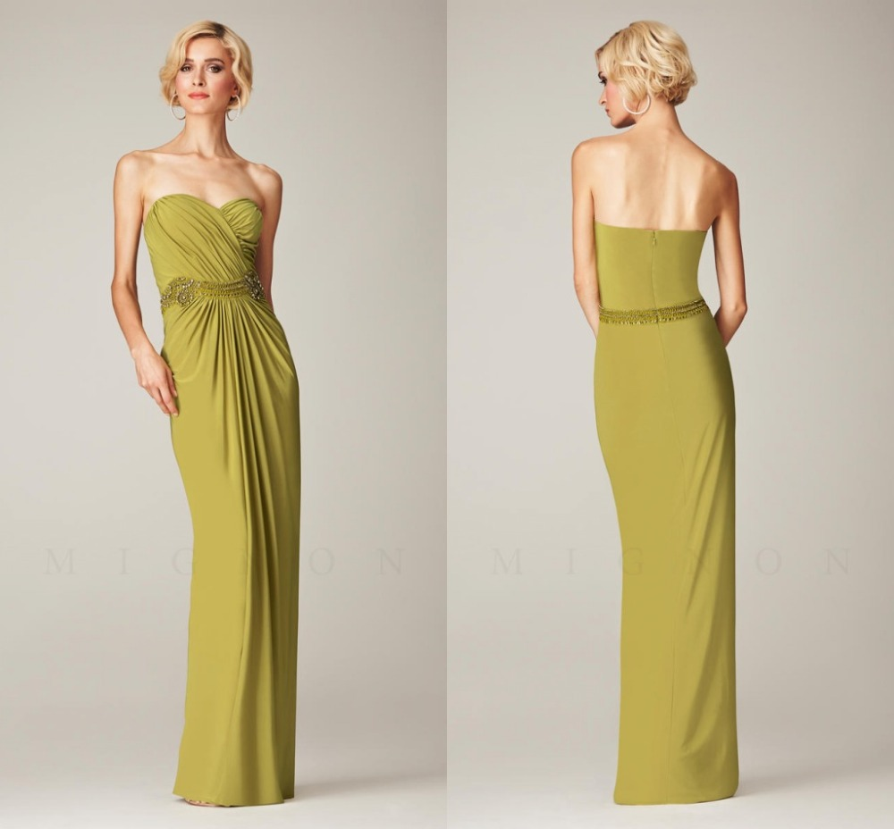 Ruched sweetheart neckline olive green long chiffon bridesmaid ruched sweetheart neckline olive green long chiffon bridesmaid dress with bead sash popular wedding prom gown vestidos in bridesmaid dresses from weddings ombrellifo Choice Image