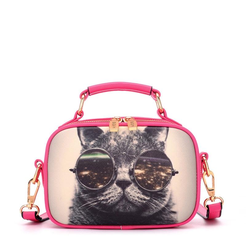 Famous Brand Fashion Cartoon Print Shoulder Bag Ladies Lovely Cat Hand held Bag Women Designer Small