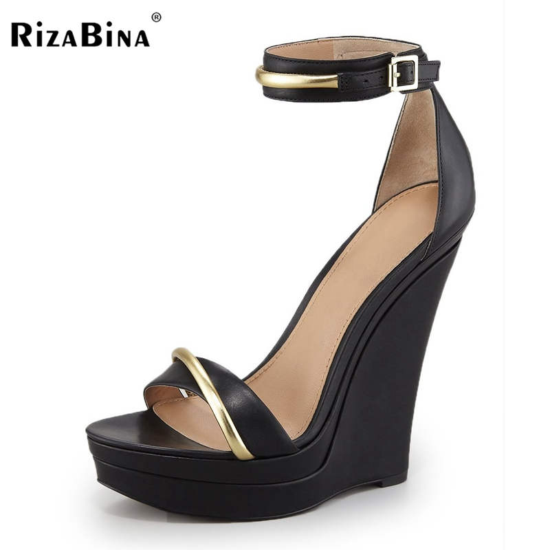 RizaBina Women Ankle Strap Lady Shoes Wedges High Heels Platform black bow Pumps tenis feminino sapato feminino Size 35-46 B043 туфли на высоком каблуке tenis feminino femininos sapatos sapato feminino platform shoes