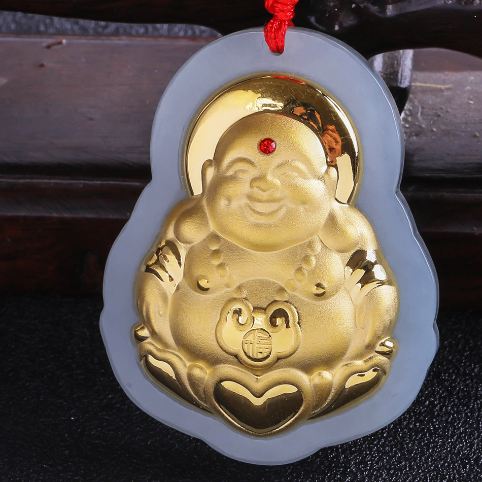 2018 New Popular Stylish Gold Jade Pendant For Men Women Fine Quality Laughing Buddha Necklace Jewelry Free Shipping 8631 natural jadeite maitreya pendant jade laughing buddha jade buddha transshipment men and women style necklace send a certificate