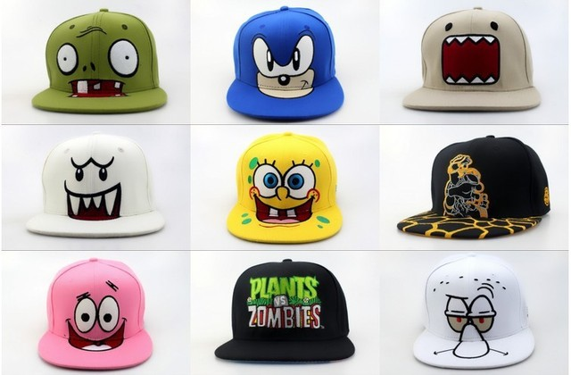 9201547318d844 Wholesale cartoon snapback hats, Plants vs Zombies Zombie Big  Face,spongebob,DOMO,