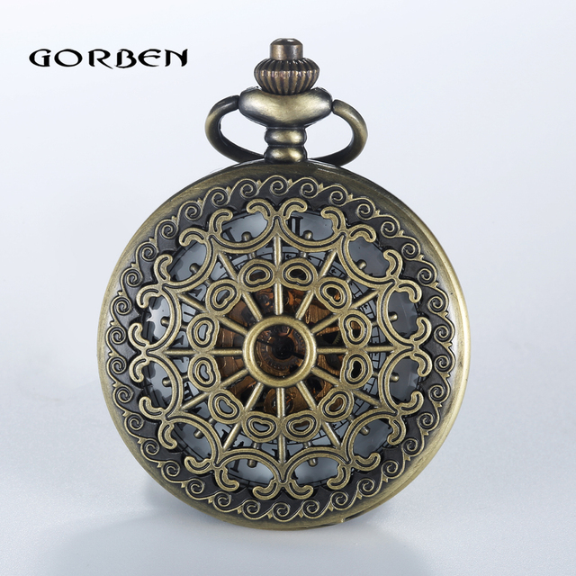 Luxury 2 Sides Case Mechanical Pocket Watch Steampunk Vintage Hollow Cover Analog Skeleton Hand Winding Mechanical Watch for Men