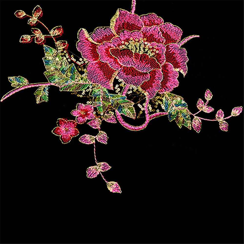 3394c5ad277d7 20F# DIY Peacock Flower Sequins Embroidered Patches For Clothes Applique  Embroidery Flower Wedding Dress Sewing Trim Garment Dec