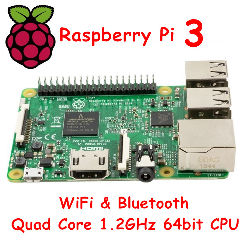 ФОТО In STOCK 2016 New Original New Element 14 Raspberry Pi 3 Model B 1GB RAM Quad Core 1.2GHz 64bit CPU WiFi & Bluetooth