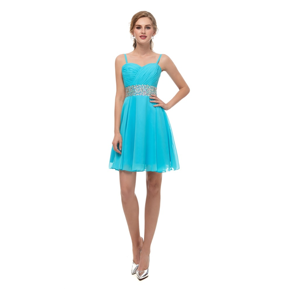 Walk Beside You Sky Blue Cocktail Dress Beaded Waistband Spaghetti Straps Pleats Sweetheart Chiffon Short vestido coctel Stock in Cocktail Dresses from Weddings Events