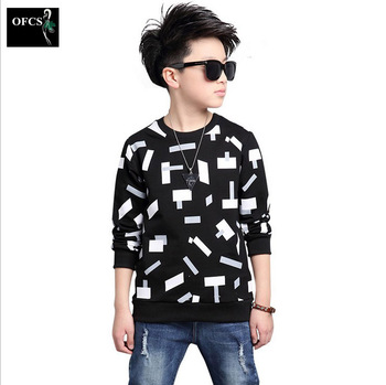 2019 Trendy O-neck Tops for Boys Cotton T-shirts Children Spring&Autumn Kids Casual Clothes Big Size Infant Fall Clothing 5-16Y 1