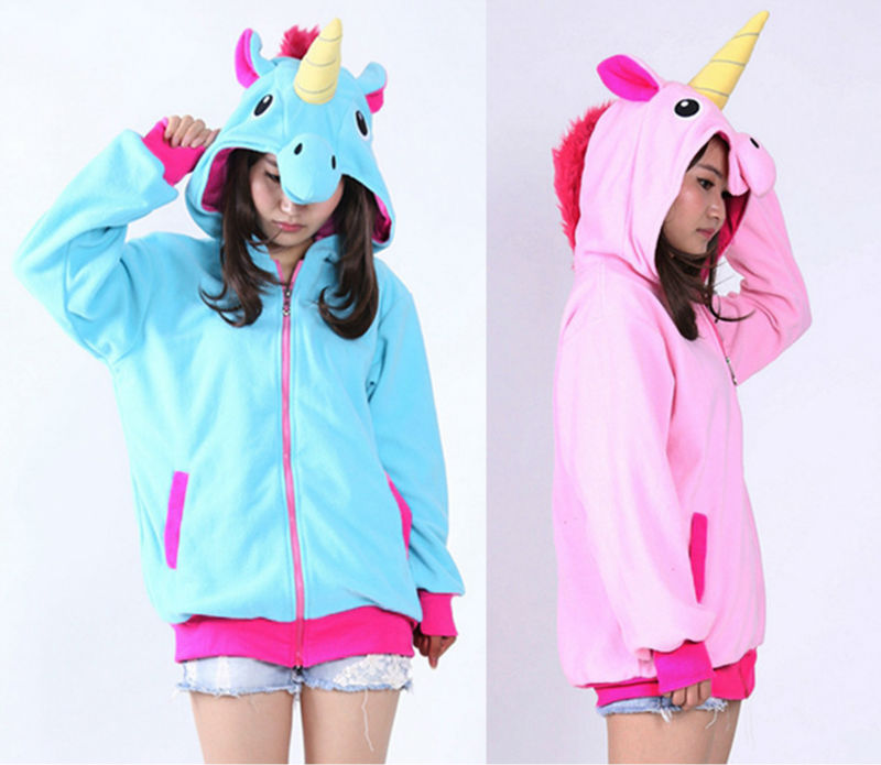 Unicorn Hoodie Anime Costume Adult Animal Panda Stitch Hooded Sweatshirt Cosplay