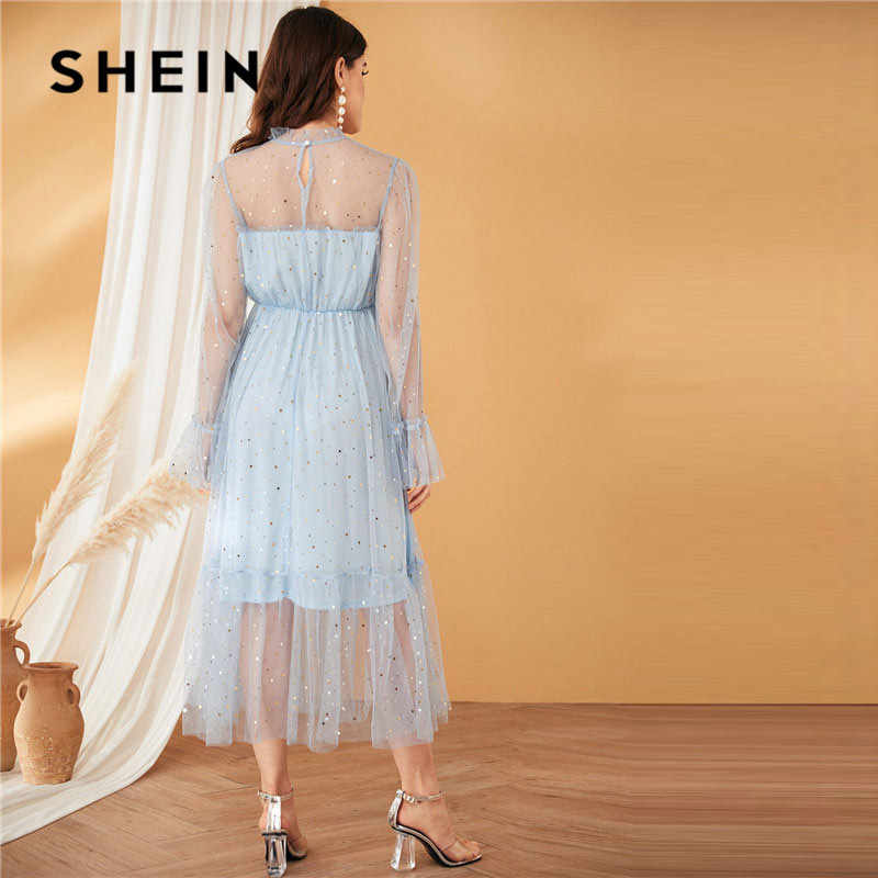 SHEIN Blue Frilled คอ Bell Sleeve Star ซ้อนทับตาข่ายลูกไม้ชุดผู้หญิงโรแมนติกคอฤดูร้อนสูงเอวปาร์ตี้ชุด