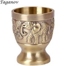 Wine liquor cup bronze goblet retro embossed carved mug creative drinkware metal goblet glasses beer spirit shot wine mug gift недорого