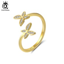 Fashion Silver 925 Adjustable Rings Flower Design with Austrian Cubic Zirconia for Women (4 colors)