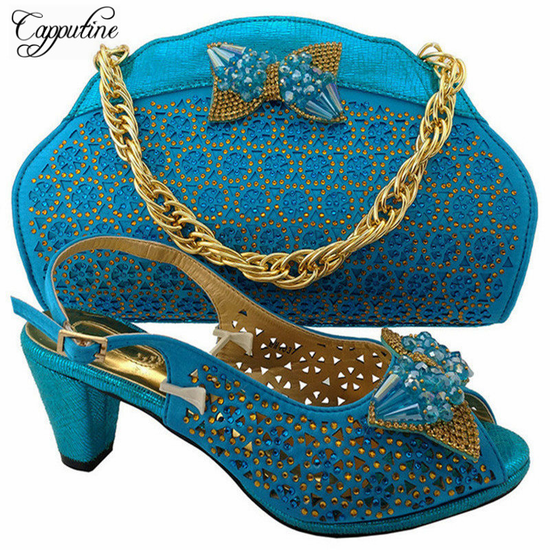 Capputine Latest African Style Shoes And Bag Set For Wedding Party Fashion Italian High Heels Shoes With Matching Bag Set MM1037 r694 classy fashion hot latest wedding ring