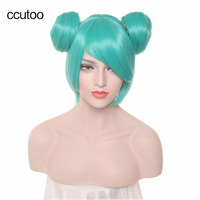 Ccutoo 35cm Blue Short Straight Base Body Wig With Two Buns Synthetic Hair For Female S