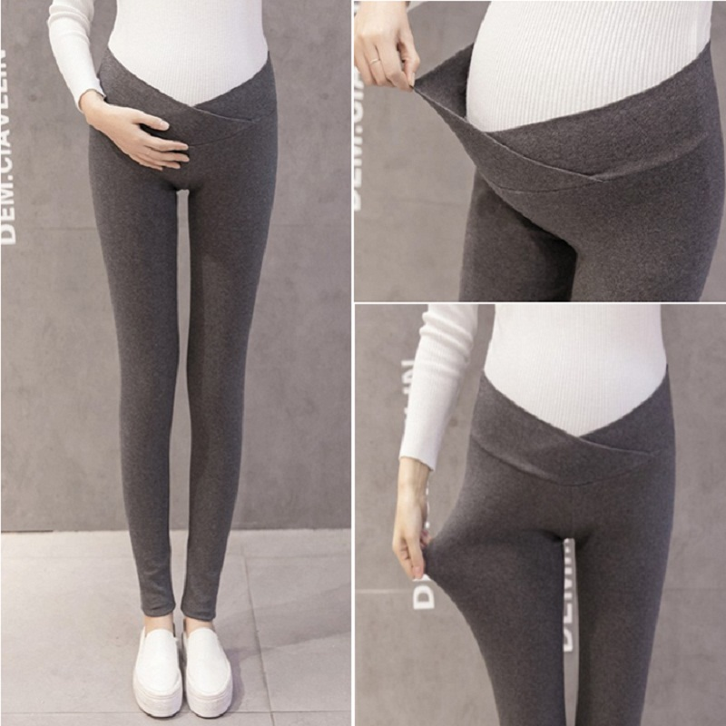 Maternity font b leggings b font pregnant maternity pants solid color thin maternity pants font b