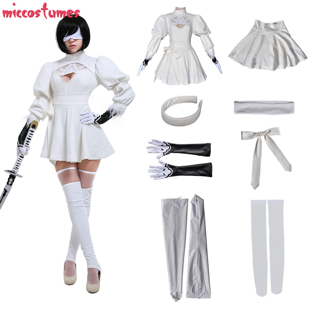 2B White Cosplay Costume Soulcalibur VI 2P YoRHa No. 2 Type B 2B Nier: Automata Game Woman Halloween Outfit