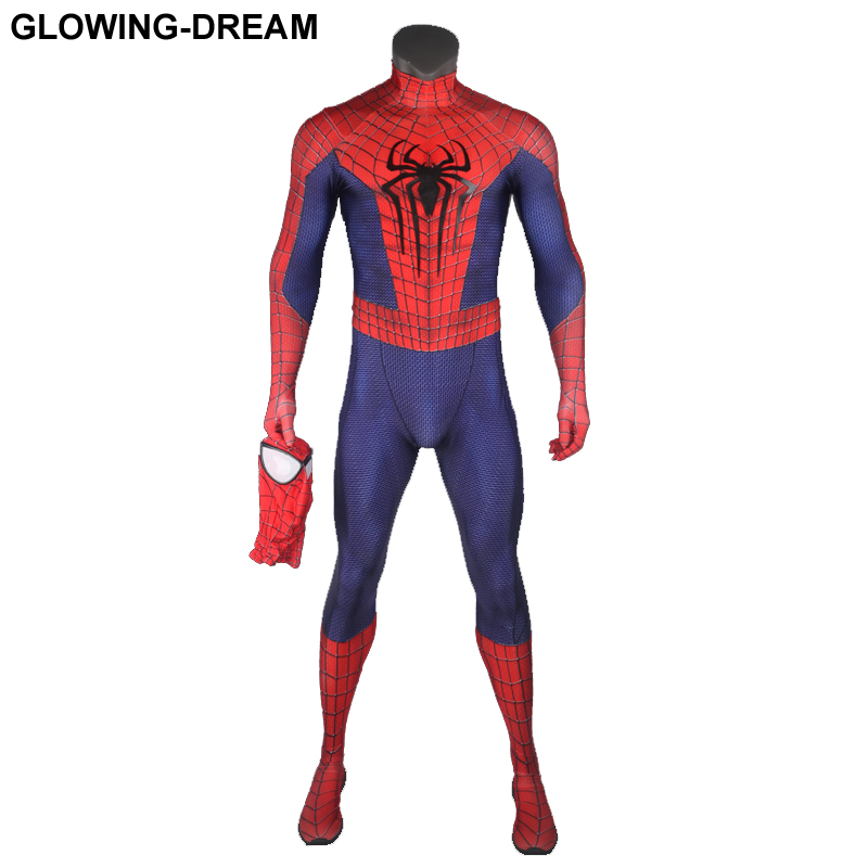 High Quality Classic Amazing Spider Man Cosplay Costume With Relief Logo U-zipper Big Eyes Amazing Spiderman Fullbody Zentai