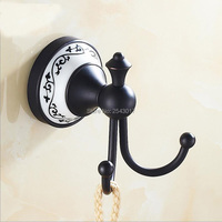 New Arrival European Antique Black Bronze Robe Hooks With Ceramic Holder Wall Mounted Cloth Coat Bag