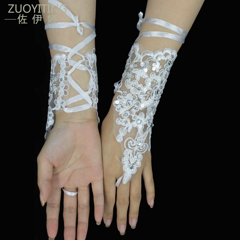 ZUOYITING Elegant Beaded Lace Satin Short Bridal Gloves Fingerless Wedding Gloves White