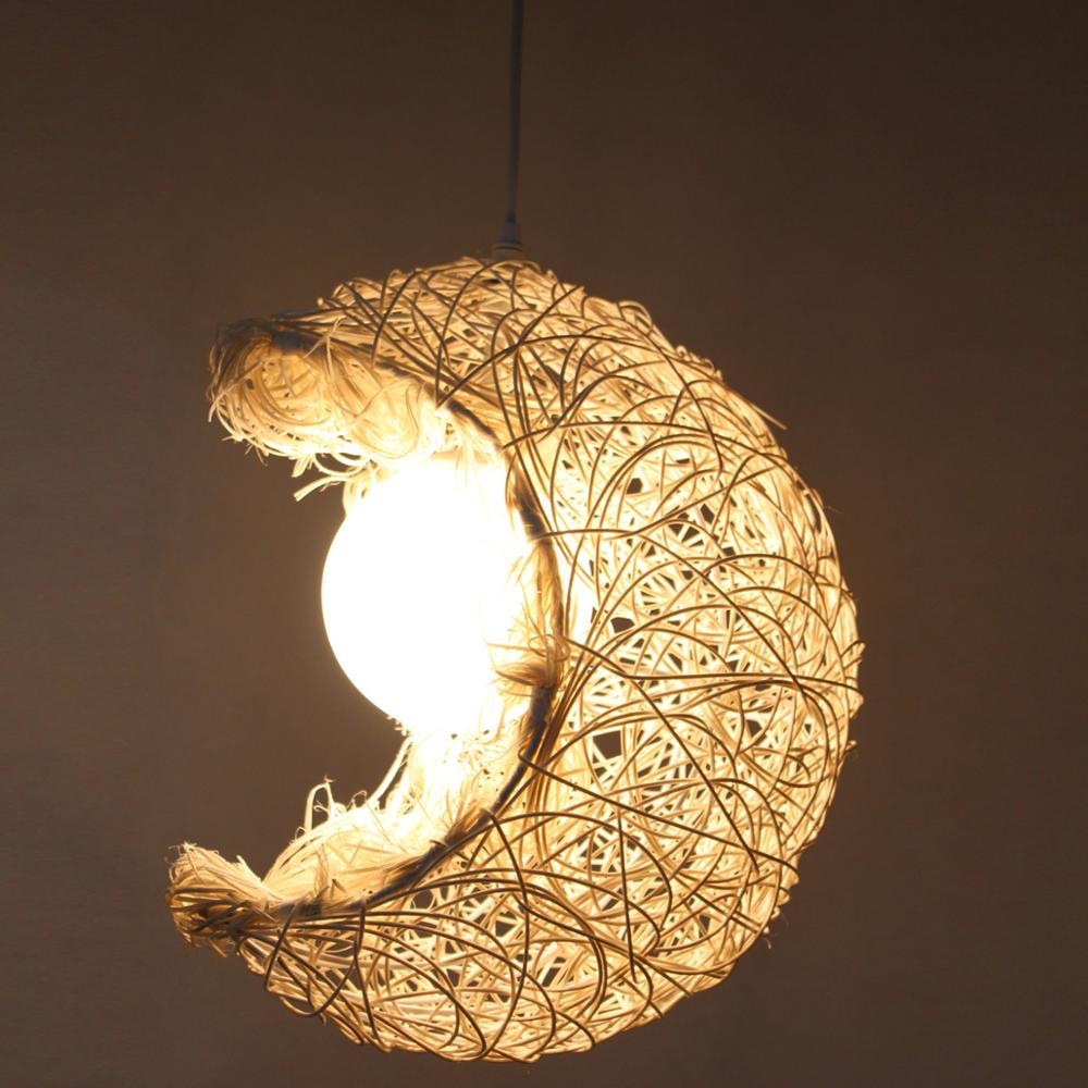 Bamboo rattan moon pendant lights hand-woven living room clothing shop boy girl childrens room lighting white pendant lamps ZABamboo rattan moon pendant lights hand-woven living room clothing shop boy girl childrens room lighting white pendant lamps ZA