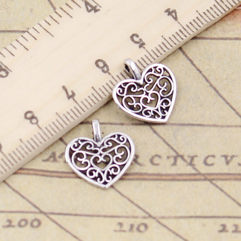 Charms Hollow Pendants Handmade-Craft Jewelry-Making Tibetan Silver-Plated Heart-16x14mm