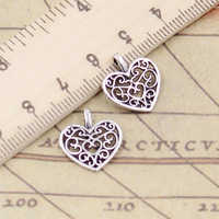 20pcs Charms hollow lovely heart 16x14mm Tibetan Silver Plated Pendants Antique Jewelry Making DIY Handmade Craft