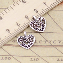 20pcs Charms hollow lovely heart 16x14mm Tibetan Silver Plated Pendants Antique Jewelry Making DIY Handmade Craft(China)