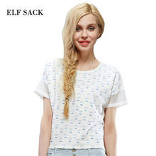 ELF SACK fashion brand new arrival 2015 summer women loose print all-match short pullover t-shirt round neck free shipping