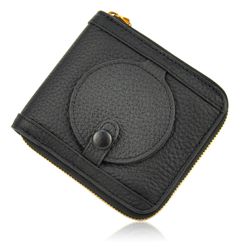 Women Genuine Real Leather Short Wallet Zip Around Purse Credit Card Holder Coin Change Bag With Mirror Fashion Lady ID Window new designer purse girl kawaii bag with zipper pu leather coin purses small women s wallet teen girl credit card pack 45
