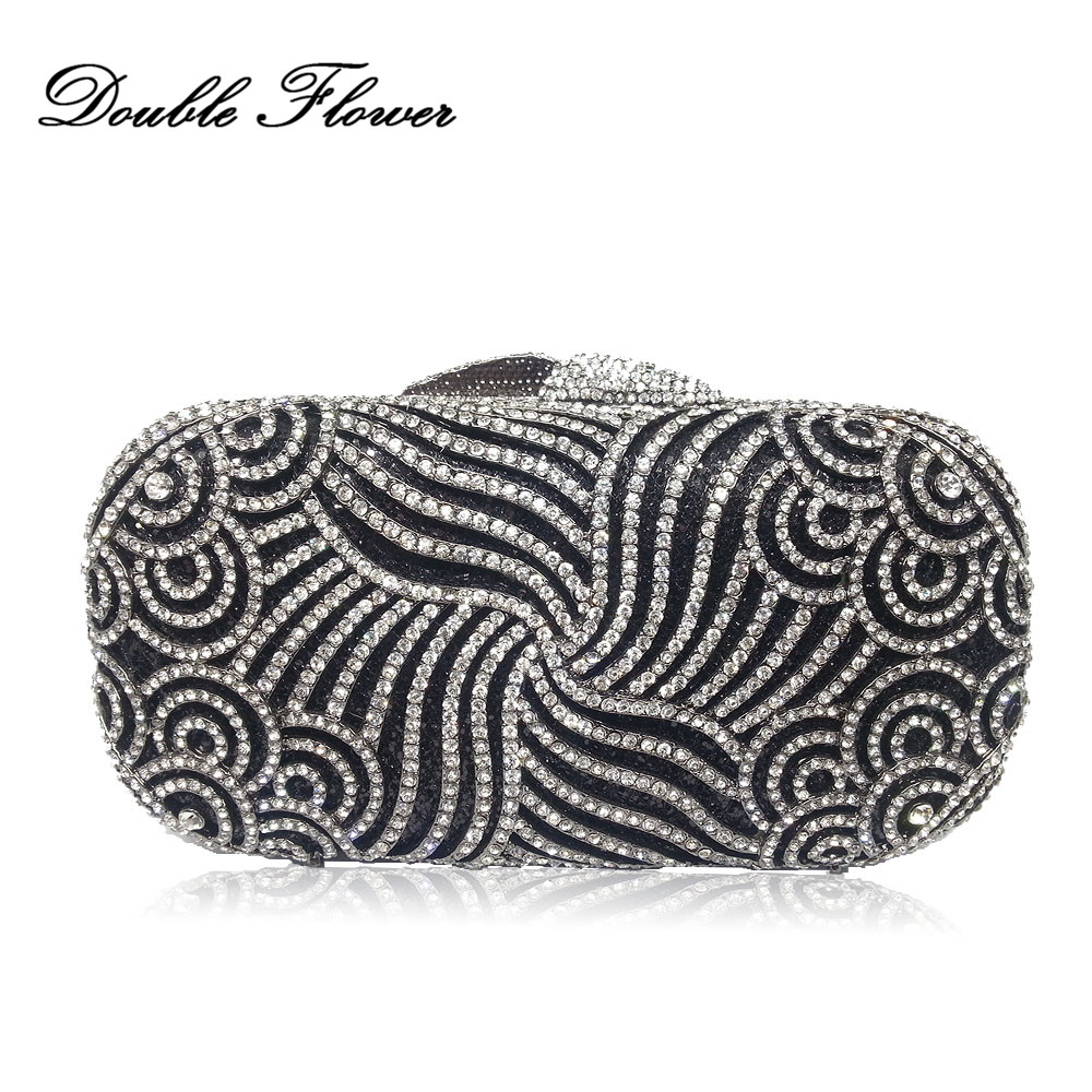 Double Flower Hollow Out Paisley Dazzling Women Crystal Clutches Bags Evening Wedding Cocktail Clutch Handbag Bridal Purse double flower hollow out sparkling dazzling crystal women gold evening clutch bags wedding party bridal diamond handbag purse