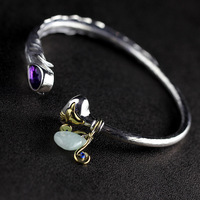 Genuine Solid 925 Sterling Silver Bangles For Women With Natural Amethyst Gemstone Cuff Bracelets Manchette Argent
