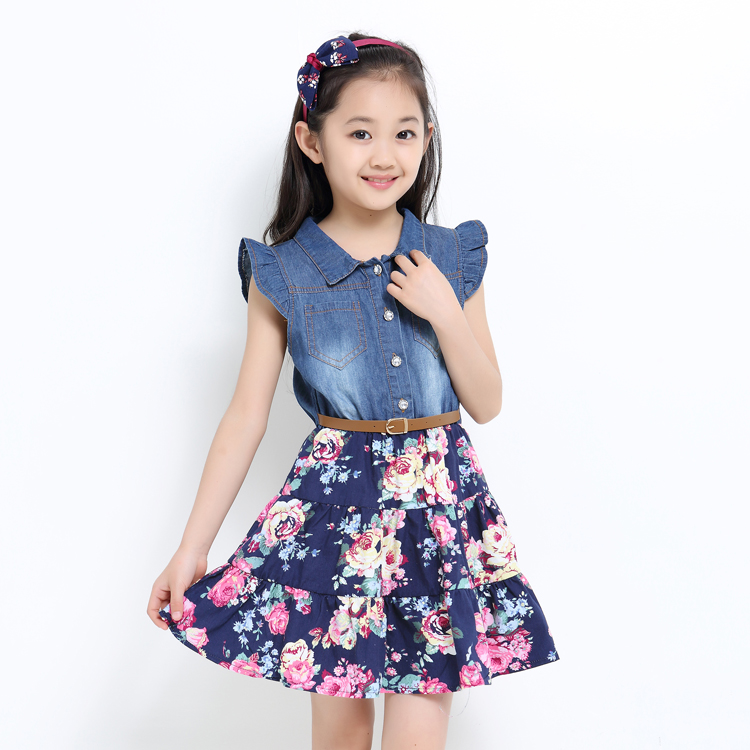 Summer Dresses For Girls Cotton Children Clothing Denim Baby Clothes Floral Short Sleeve Kids Clothes For Girls Princess Dress baby girls dress summer 2017 brand girls wedding dress cotton princess dress for girls clothes kids dresses children clothing