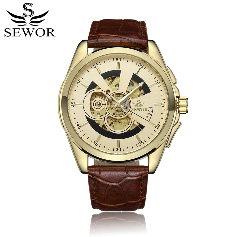SEWOR Watch Men Mechanical Automatic Self-Wind Business Watches Top Brand Man Skeleton Leather Wristwatches With Box SWQ47 retro hollow skeleton automatic mechanical watches men s steampunk bronze leather brand unique self wind mechanical wristwatches