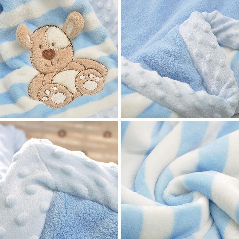 Image 5 - Двухслойное детское одеяло с мультяшным животным, теплое Хлопковое одеяло для новорожденных, покрывало для колясок, детское зимнее одеялоОдеяла и пеленки   -