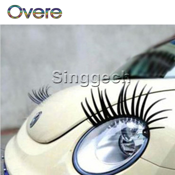 Overe 1Pair 3D Car Headlight Fake Eye Lash Stickers For Fiat Punto Volkswagen VW Polo Passat B7 B8 Golf 5 6 7 Tiguan image