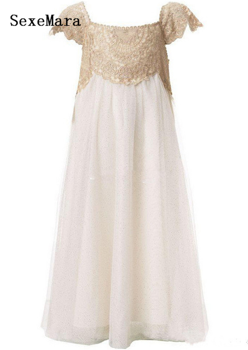 New Champagne Lace A Line Girls Dress for Birthday Soft Chiffon Ankle Length Long Girls Pageant Party Gown Custom Made Size
