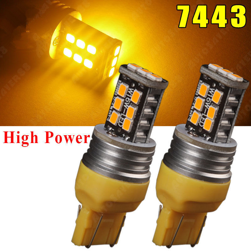 2X Amber/Yellow <font><b>7443</b></font> 7440 <font><b>T20</b></font> 15W 15 SMD <font><b>LED</b></font> Bulbs Turn Signal Light 800LM High Power 7444NA 992 Brake Lamp image
