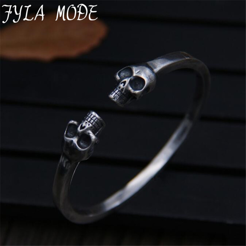 Famous Brand S925 Sterling Silver Basic Cuff Bangle Skull Head Bracelet Opening Bangle with Double Skeleton Charms Punk Cool цена 2017