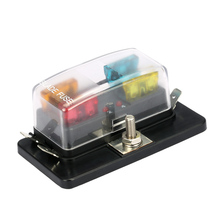 4 Way Blade Fuse Box Holder with LED Warning Light Kit for