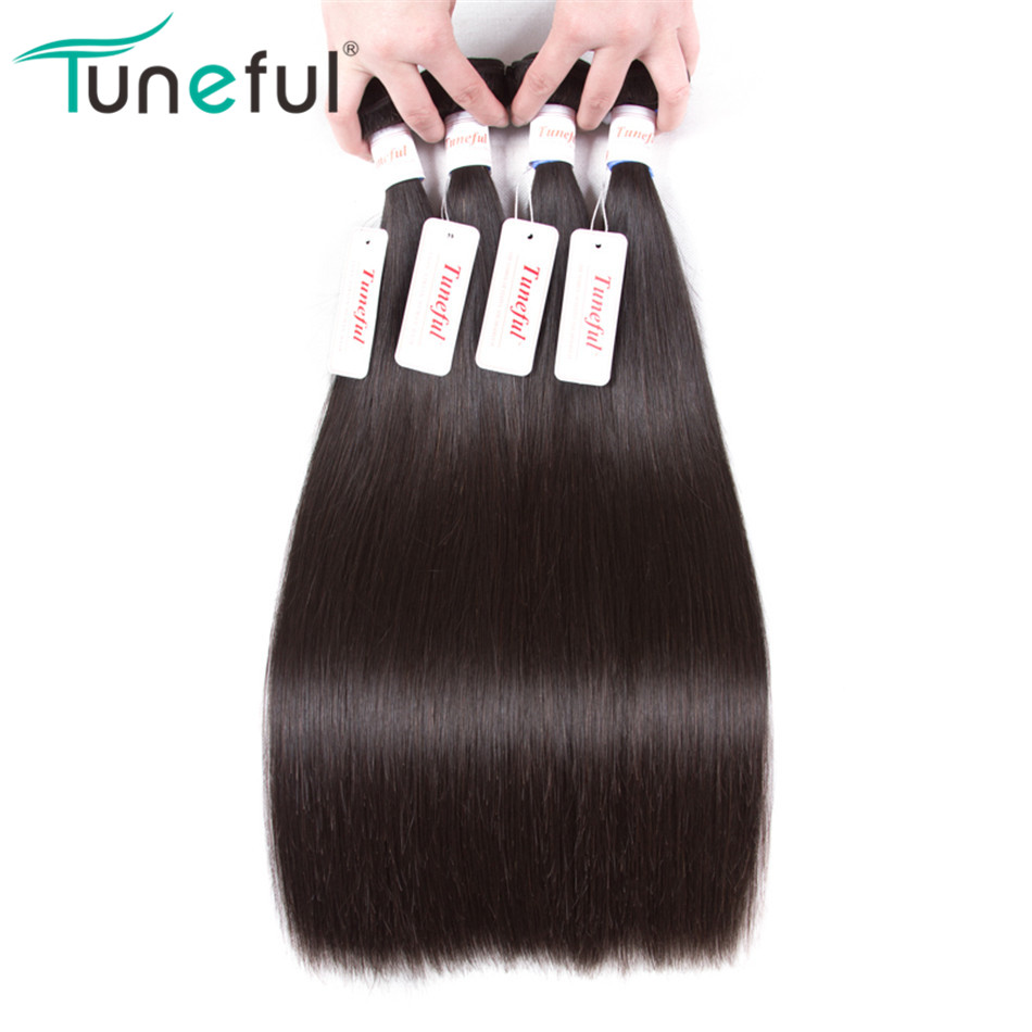 Tuneful 100% Human Hair Weave Bundles Hair Extensions Non-remy Hair Weft Can Be Dyed And Bleached Peruvian Straight Hair