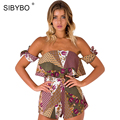 Sibybo Sexy Summer Jumpsuit 2017 Street Style Sleeveless Halter Off Shoulder Rompers Womens Jumpsuit Overalls Bodysuits