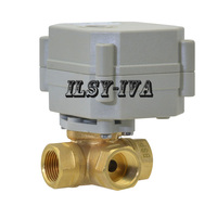 3/4AC/DC 9~24V electric valve,3way T type/ L type Mini electric motor control valve