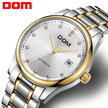DOM  mechanical man watch top brand luxury  waterproof  stainless steel  mens watches crystal reloj hombre M95