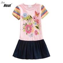 NEAT new summer short sleeve dress round neck cotton printed baby girl children's clothing rainbow sleeve sleeve dress SH5803