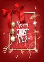 Merry Christmas Red Gold Frame Balls Silk Bow Backdrop Vinyl Cloth Computer Print Photo Studio Party