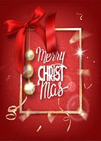 Merry Christmas Red Gold Frame Balls Silk Bow Backdrop Vinyl Cloth Computer Print Photo Studio Background