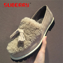 SUBERRY New 2016 Fashion Thick Sheep Fur Woman Loafers Slip On High Quality Genuine Leather Women Winter Warm Flats Big Size 40
