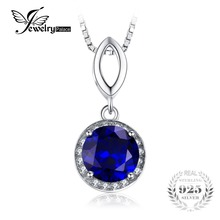 JewelryPalace Round Cut 2.5ct Created Blue Sapphire Halo Pendant Solid 925 Sterling Silver Without a Chain 2016 New For Women