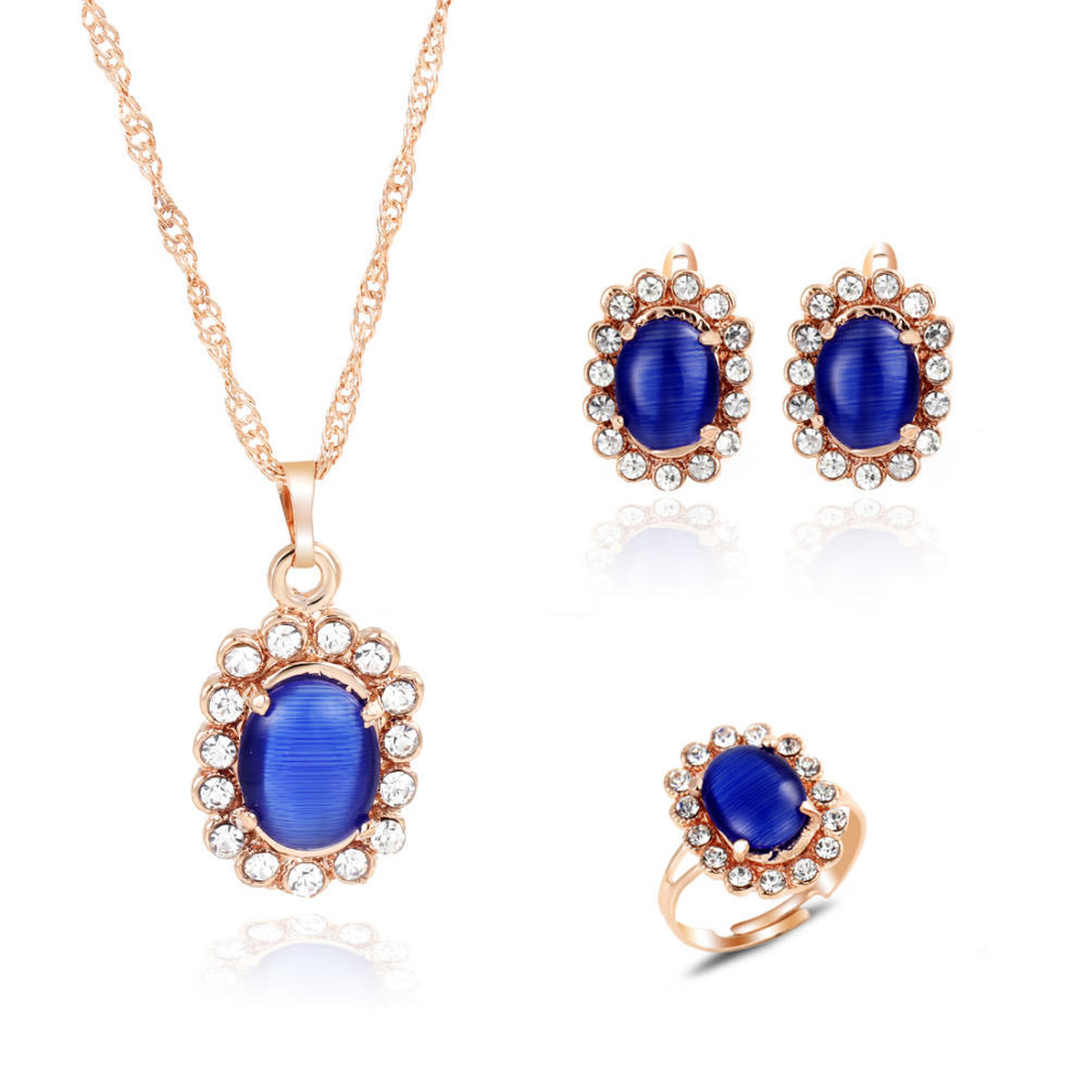 Elegant Lady's Banquet Jewelry Set Pretty Navy Blue Flower Pendant Necklace  Drop Earring Adjustable Ring For
